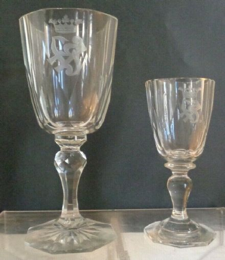 Antique Imperial Russian Glass Factory Engraved Glasses Coronet Initialed SK